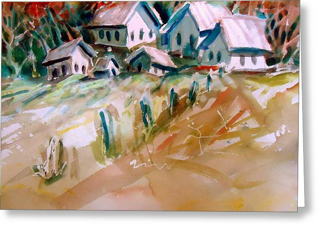 Quaker Paintings Greeting Cards - The town on shaky ground Greeting Card by Steven Holder