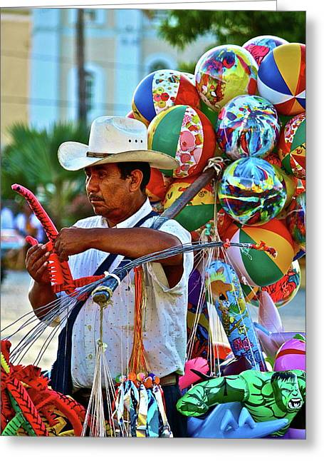 Balloon Vendor Greeting Cards - The Toy Man Greeting Card by Diana Hatcher