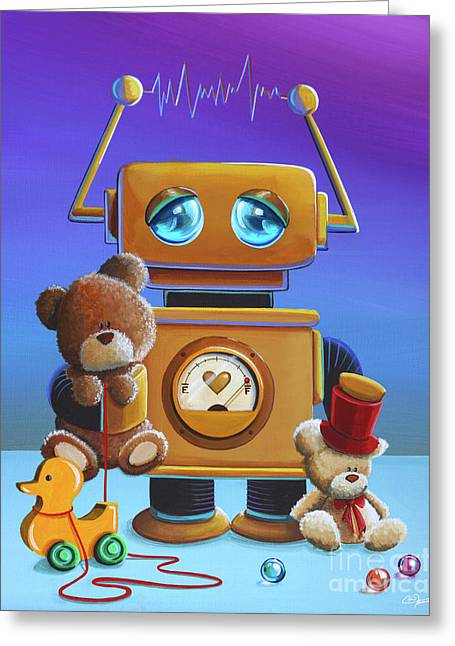 The Toy Robot Greeting Card by Cindy Thornton