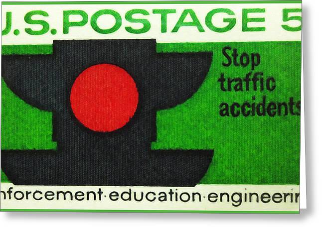 Traffic Control Paintings Greeting Cards - The Traffic Safety stamp Greeting Card by Lanjee Chee