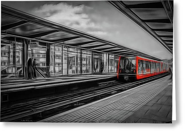 The Train In Red Greeting Card by Peter Sterling
