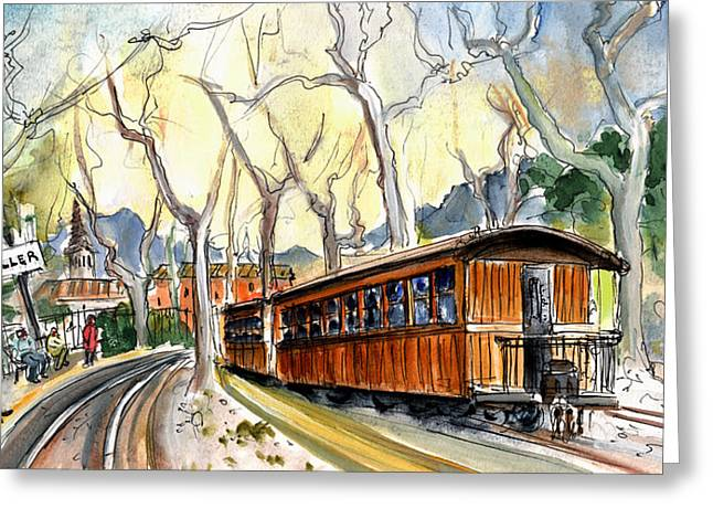 Ventage Greeting Cards - The Train Station In Soller In Majorca Greeting Card by Miki De Goodaboom