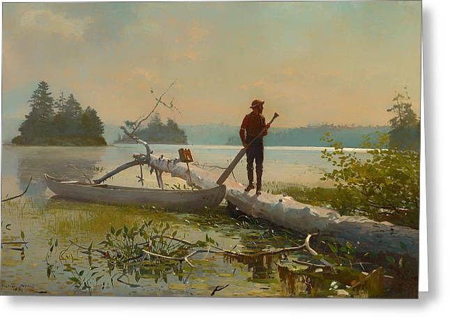 Trapper Greeting Cards - The Trapper Greeting Card by Winslow Homer