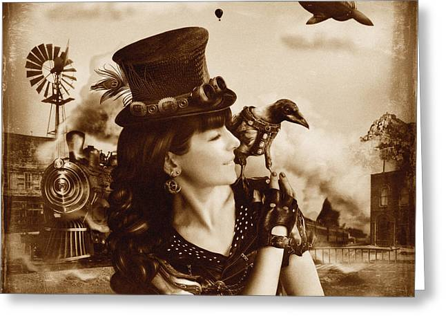 Daydream Greeting Cards - The Traveler Vintage Sepia Version Greeting Card by Alessandro Della Pietra