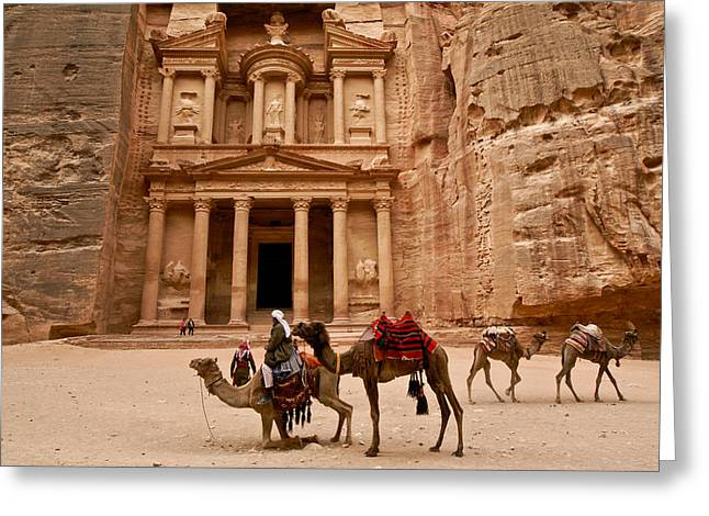 Jordan Greeting Cards - The Treasury of Petra Greeting Card by Michele Burgess