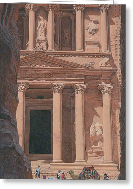 Jordan Photographs Greeting Cards - The Treasury Petra Greeting Card by Richard Harpum