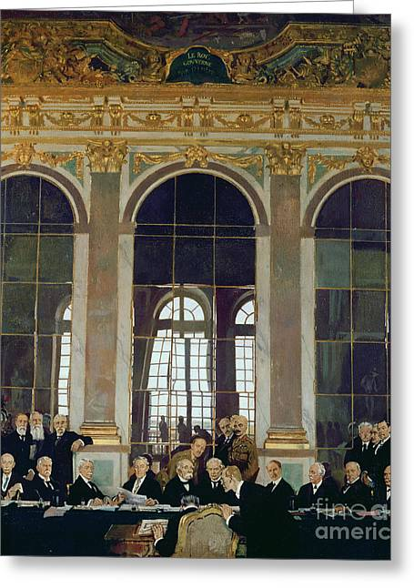 Wwi Paintings Greeting Cards - The Treaty of Versailles Greeting Card by Sir William Orpen