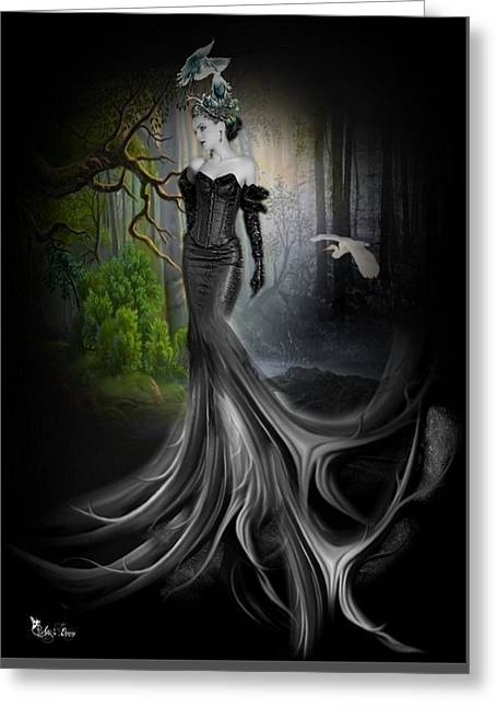 Fantasy Tree Greeting Cards - The tree came alive Greeting Card by Ali Oppy