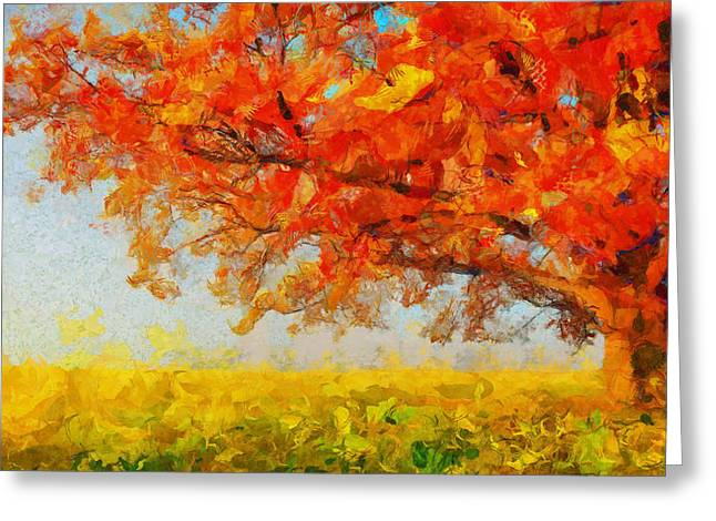 D.w. Paintings Greeting Cards - The Tree Of Beautiful Silence - Painting  Greeting Card by Sir Josef  Putsche Social Critic