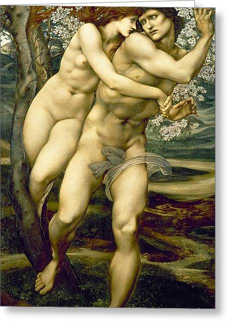 Sexual Lovers Greeting Cards - The Tree of Forgiveness Greeting Card by Sir Edward Burne-Jones