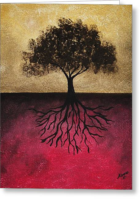 Tree Roots Paintings Greeting Cards - The Tree of Life Greeting Card by Edwin Alverio