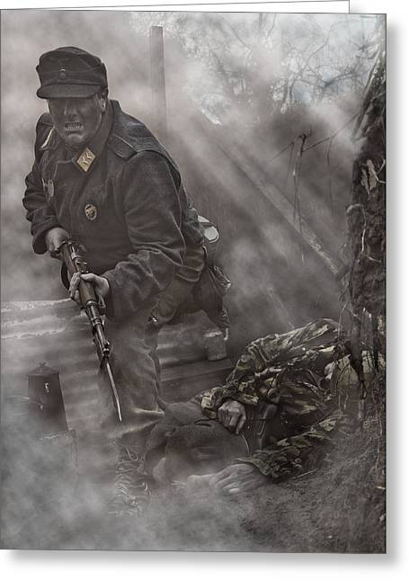 Under Fire Greeting Cards - The Trench 2 Greeting Card by Mark H Roberts