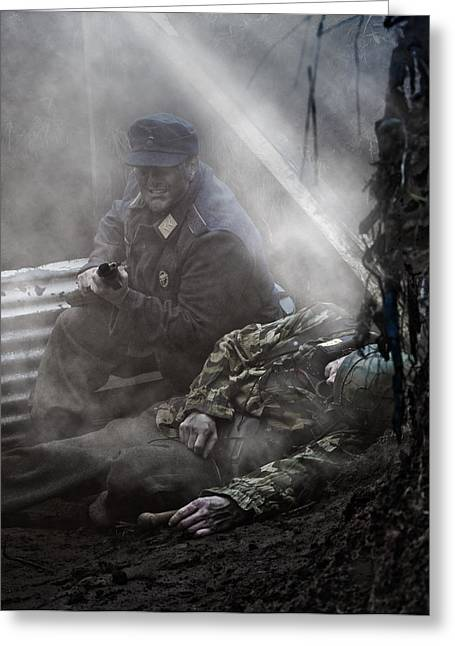 Under Fire Greeting Cards - the Trench 3 Greeting Card by Mark H Roberts