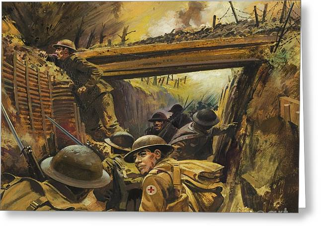 Wwi Paintings Greeting Cards - The Trenches Greeting Card by Andrew Howat
