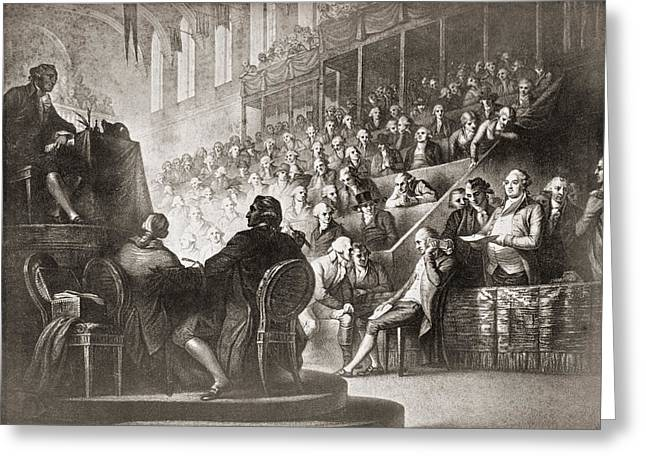 Convention Drawings Greeting Cards - The Trial Of Louis Xvi At The National Greeting Card by Vintage Design Pics