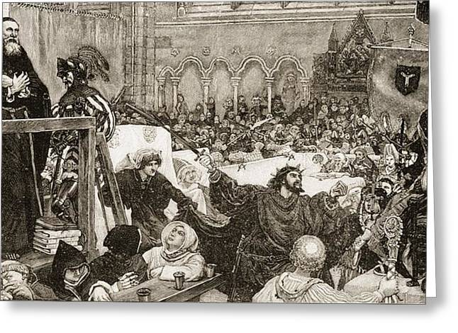 Trial Drawings Greeting Cards - The Trial Of Wycliff,1378. John Wycliff Greeting Card by Ken Welsh