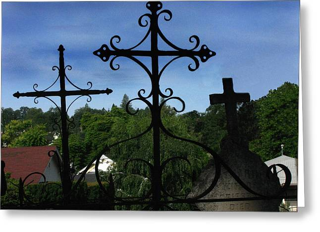 Headstones Greeting Cards - The Trinity of a different kind Greeting Card by Peter Piatt