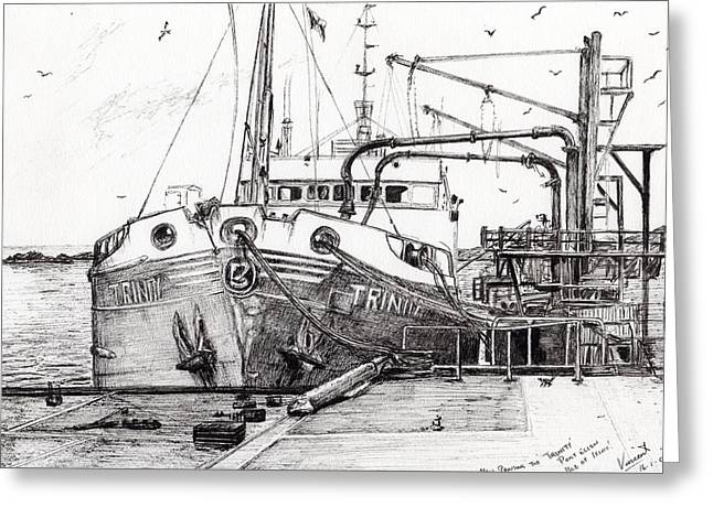 Docked Boats Drawings Greeting Cards - The Trinity  Port Ellen  Isle of Islay Greeting Card by Vincent Alexander Booth