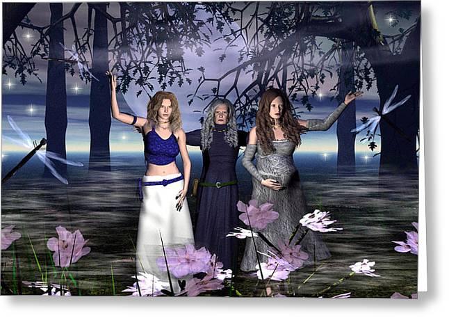 Maiden Mixed Media Greeting Cards - The Triple Goddess Greeting Card by Eva Thomas