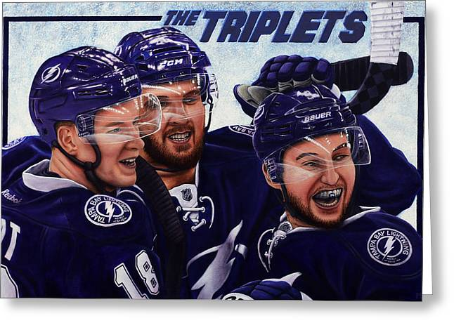 Hockey Paintings Greeting Cards - The Triplets Greeting Card by Marlon Huynh