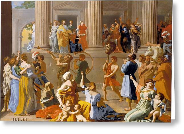 Cheer On Paintings Greeting Cards - The Triumph of David Greeting Card by Nicolas Poussin