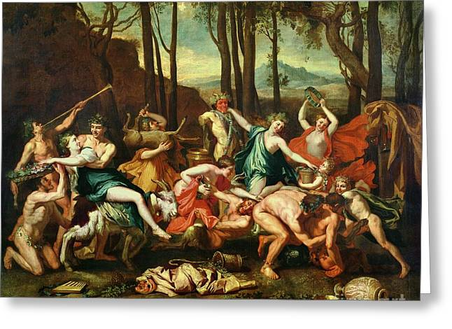 Jugs Greeting Cards - The Triumph of Pan Greeting Card by Nicolas Poussin