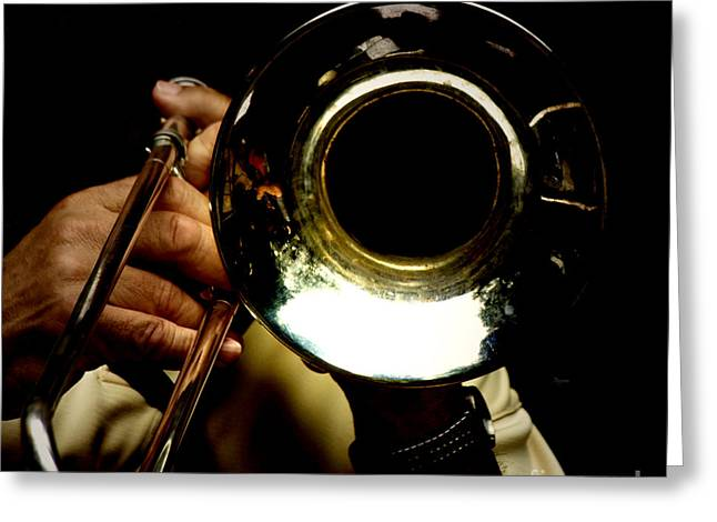 Playing Musical Instruments Greeting Cards - The Trombone   Greeting Card by Steven  Digman