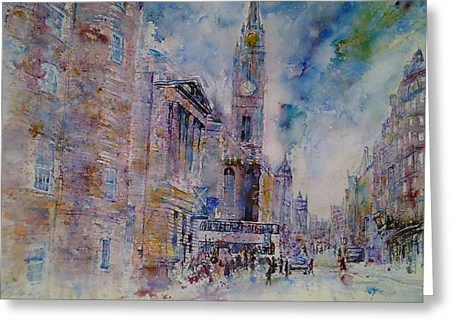 Tron Paintings Greeting Cards - The Tron High Street  Edinburgh  Greeting Card by Robert Hogg