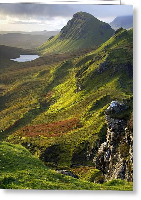 Highlands Of Scotland Greeting Cards - The Trotternish Hills from the Quiraing Isle of Skye Greeting Card by John McKinlay