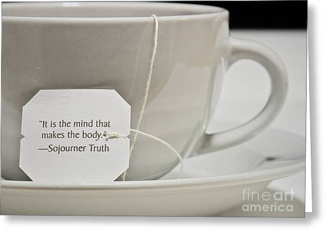 The Truth About Tea Greeting Card by Valerie Morrison