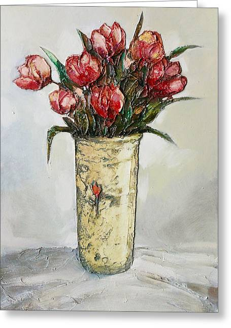 Flowers Reliefs Greeting Cards - The Tulips Greeting Card by Mehdi Ashlaghi