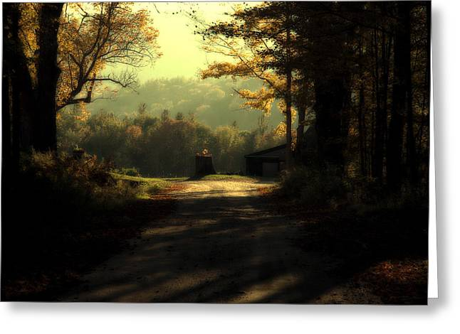 Tress Greeting Cards - The Turn in the Road Greeting Card by Ross Powell