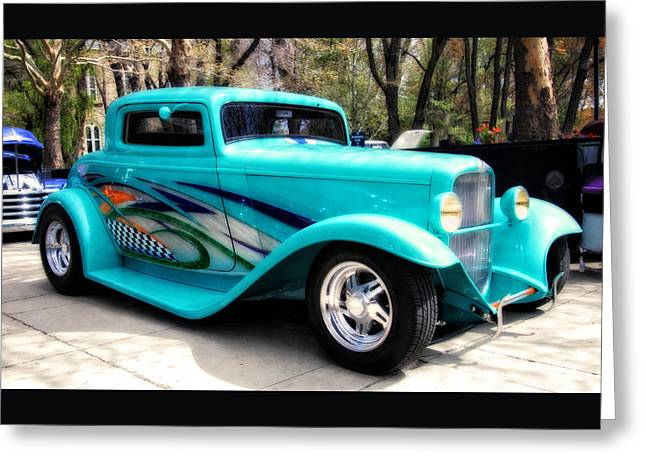 Cool Greeting Cards - The Turquoise Hot Rod  Greeting Card by Thom Zehrfeld
