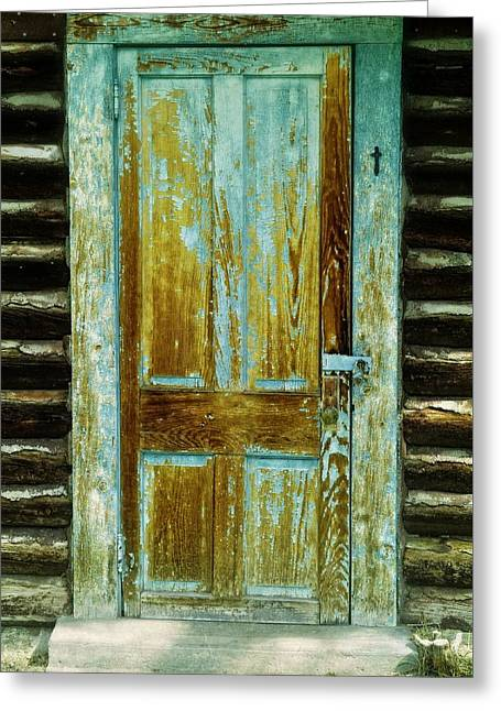 ist Photographs Greeting Cards - The Turquoise Cabin Door Greeting Card by Image Takers Photography LLC - Laura Morgan