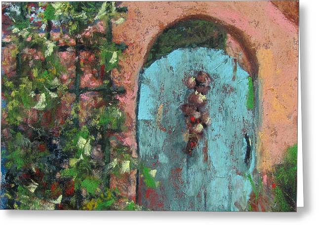 Gate Pastels Greeting Cards - The Turquoise Door Greeting Card by Julia Patterson