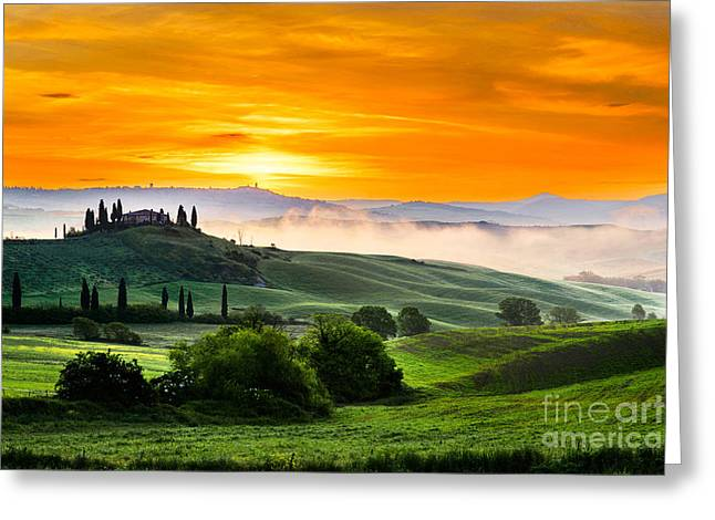 Tuscan Hills Greeting Cards - The Tuscan morning Greeting Card by Yuri Santin