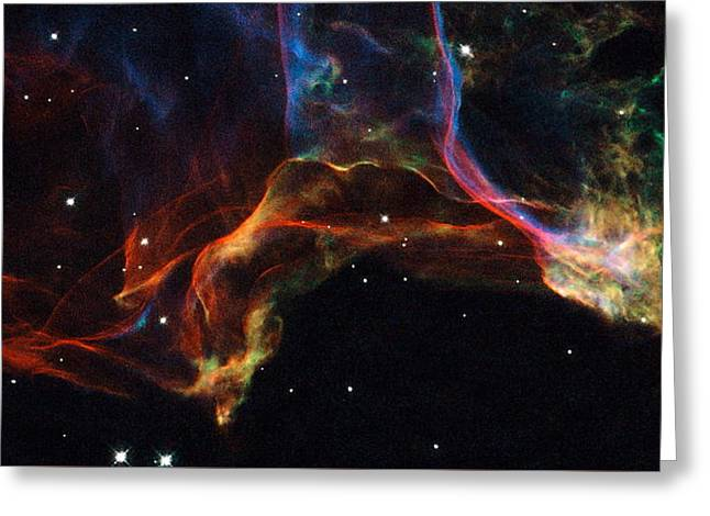 Interstellar Space Greeting Cards - The Twisted Shockwaves of an Exploded Star Greeting Card by Eric Glaser
