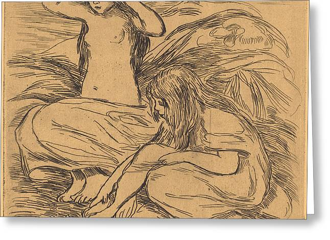 Famous ist Drawings Greeting Cards - The Two Bathers - les Deux Baigneuses Greeting Card by Auguste Renoir