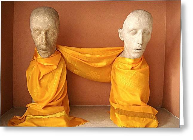 Pairs Greeting Cards - The Two Monks Greeting Card by Ivan Alberto Herrera Sainz