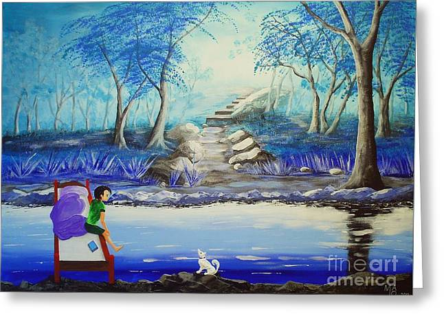 Fantasy World Greeting Cards - The Two Of Us In Blue Forest Greeting Card by Mario Lorenz