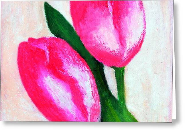 The Two Pink Tulips Greeting Card by Farah Faizal