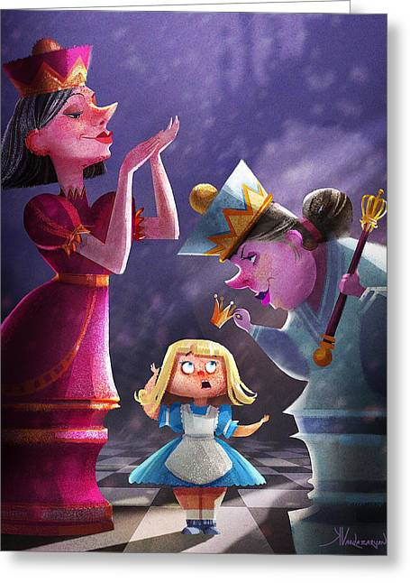 Stylized Greeting Cards - The Two Queens Greeting Card by Kristina Vardazaryan