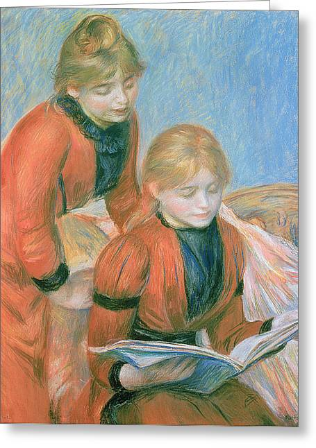 Female Friendship Greeting Cards - The Two Sisters Greeting Card by Pierre Auguste Renoir