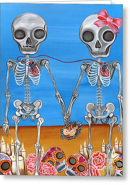 Surrealist Greeting Cards - The Two Skeletons Greeting Card by Jaz Higgins