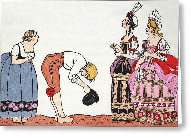 The Ugly Sisters From Cinderella Greeting Card by Georges Barbier