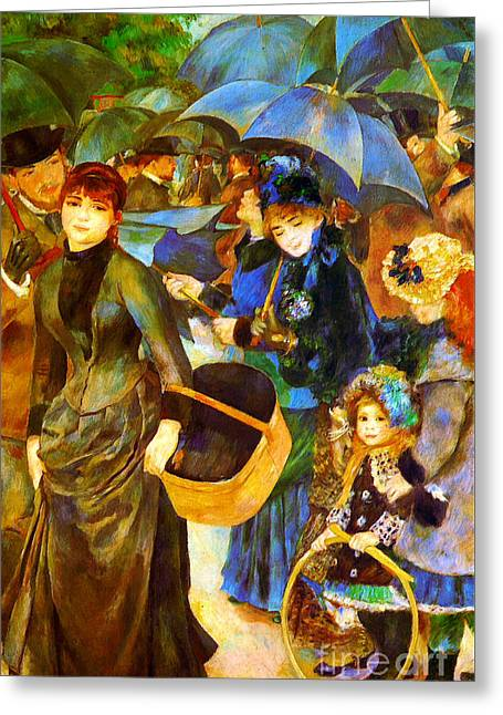 Renoir Greeting Cards - The Umbrellas by Renoir Greeting Card by Pg Reproductions