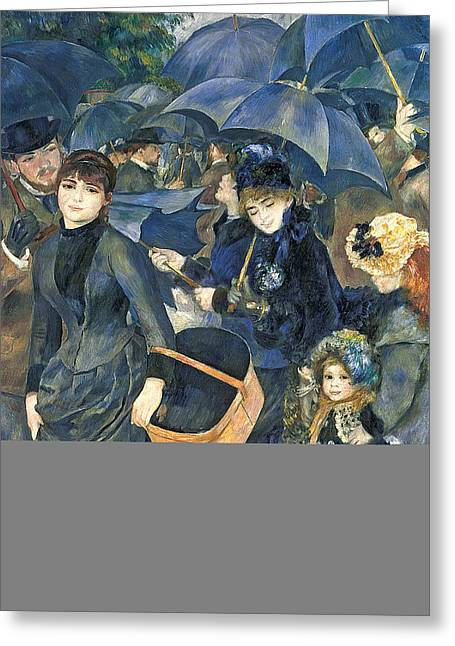 Les Greeting Cards - The Umbrellas Greeting Card by Pierre Auguste Renoir