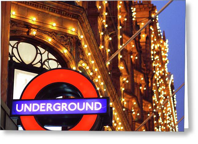 The Underground and Harrods at Night Greeting Card by Heidi Hermes