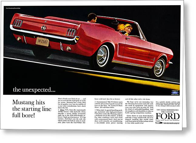 Carroll Shelby Greeting Cards - the unexpected... 1964 Ford Mustang Greeting Card by Digital Repro Depot