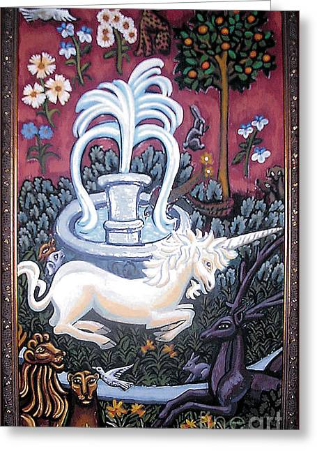 Byzantine Greeting Cards - The Unicorn and Garden Greeting Card by Genevieve Esson